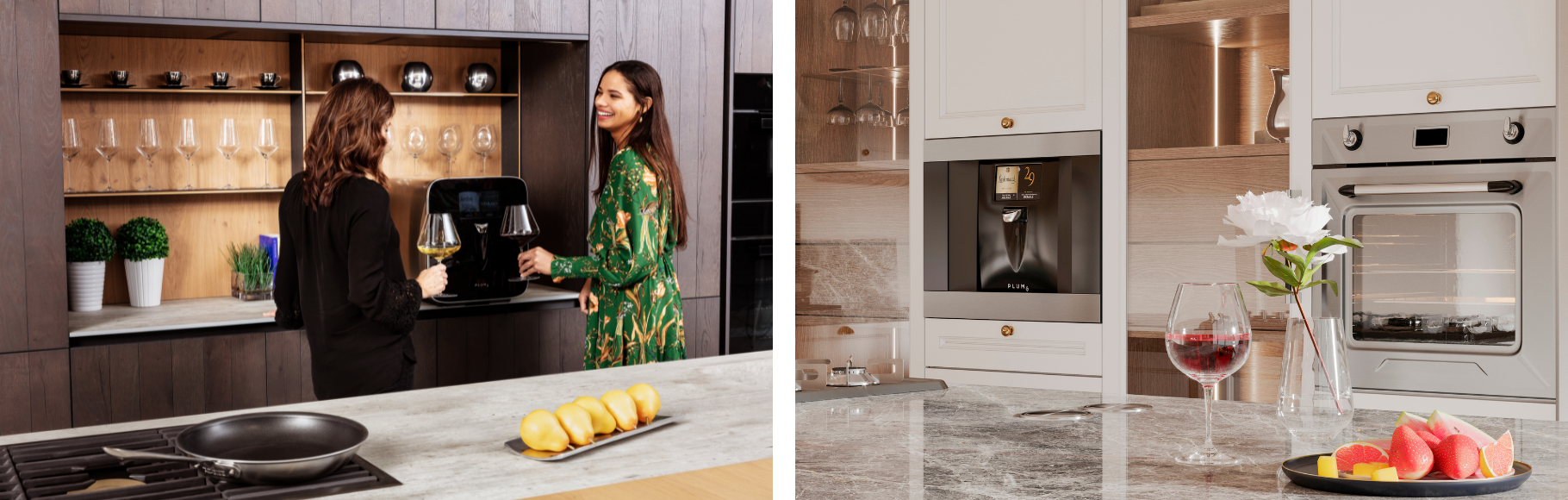 Plum wine dispenser on the kitchen countertop and built-in, with two women smiling and drinking wine