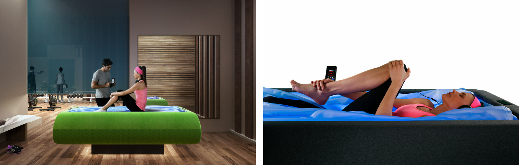 Zerobody flotation bed in use with athlete relaxing
