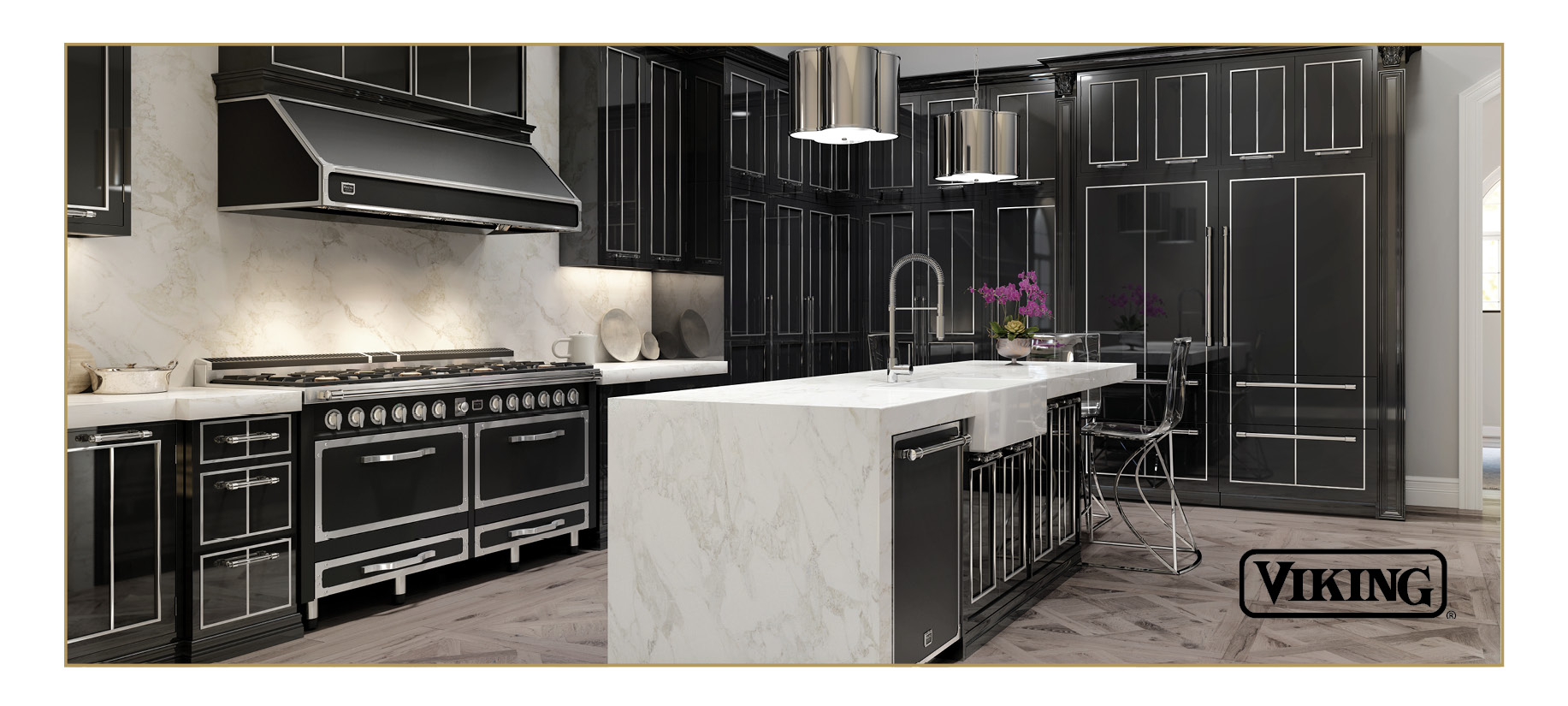 Viking Tuscany Range in black with silver accents. Range hood in the same color scheme. Black and silver kitchen.