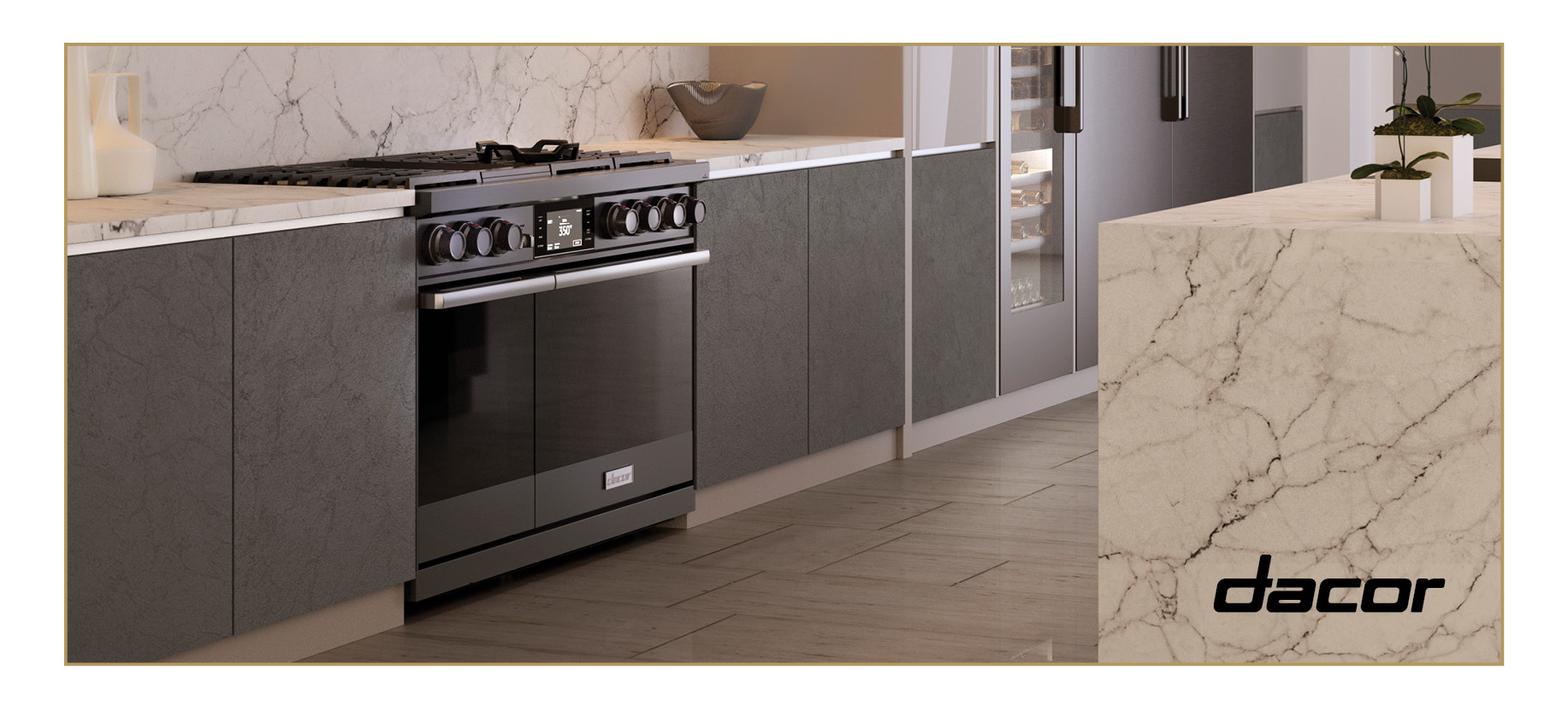 Dacor Dual Fuel Steam Contemporary Range in black with silver accents. Wine refrigerator. Marble island.