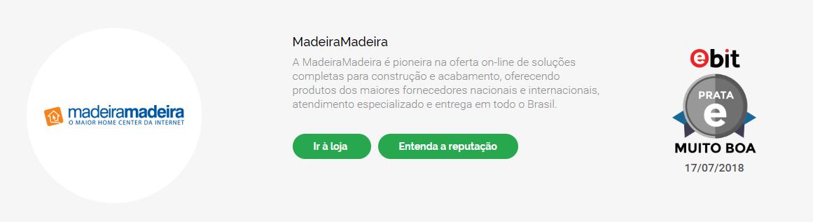 Madeira Madeira é confiável: Reputação da loja no Ebit