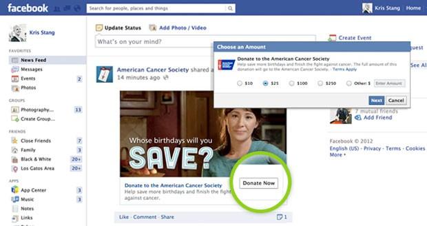 site de doação botão donate facebook