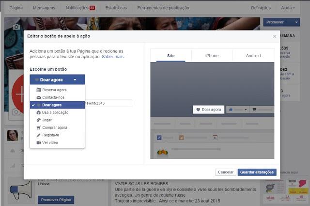 botão do facebook para arrecadar doações