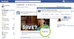 doações pelo facebook