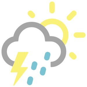 Partly sunny w/ t-storms