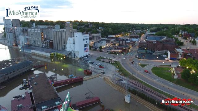 Downtown Alton Flood, Argosy, Ardent Mills and Night Lights