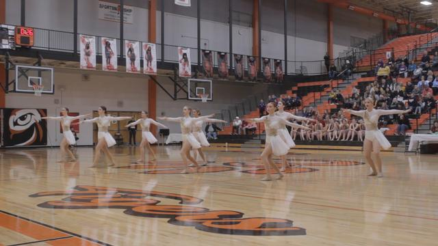 The Tigers Perform Team Routine at EHS's IDTA Competition
