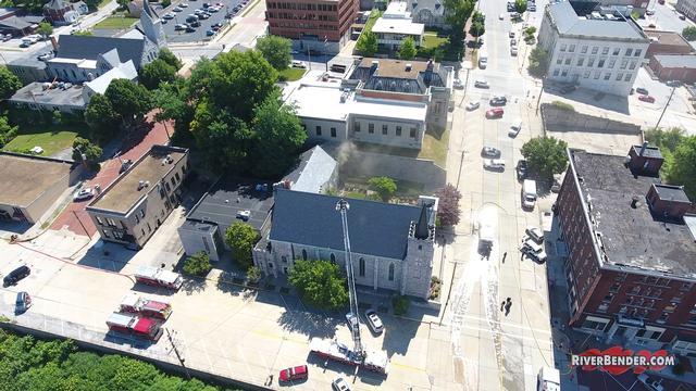 Drone Footage: Heavy Blaze/Smoke At St. Paul's Episcopal Church