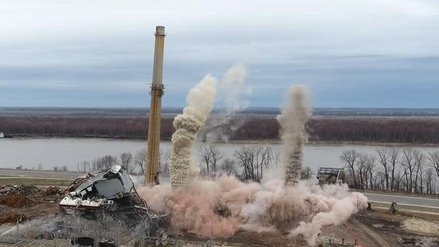 DRONE VIDEO: Wood River Power Plant Stack Demolition