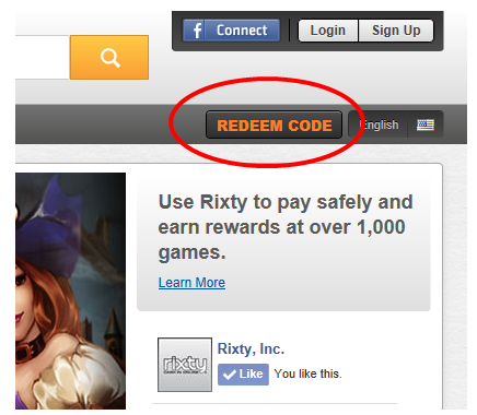Redeem Code button