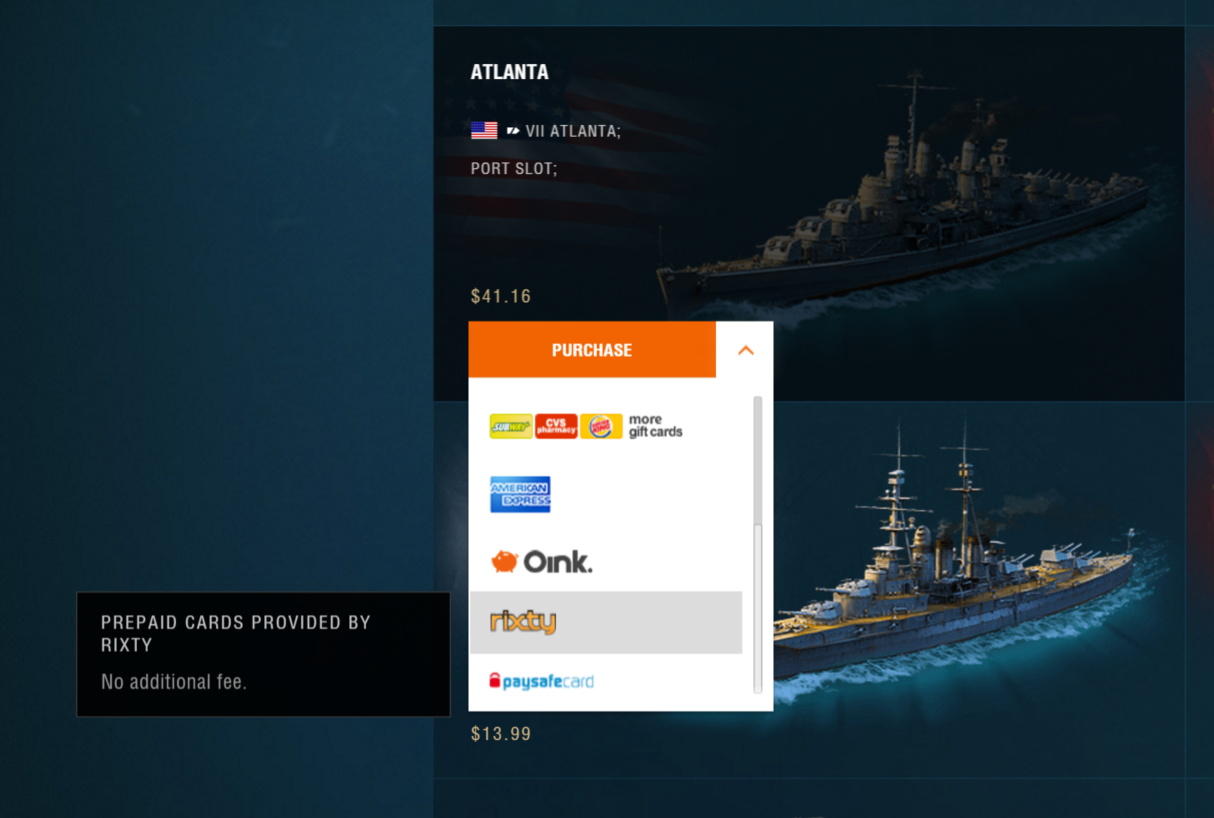 Buy World of Warships game codes and cards