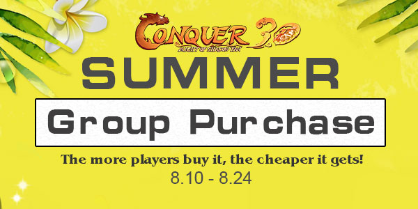 Summer Group Purchase at Conquer Online game codes and game cards