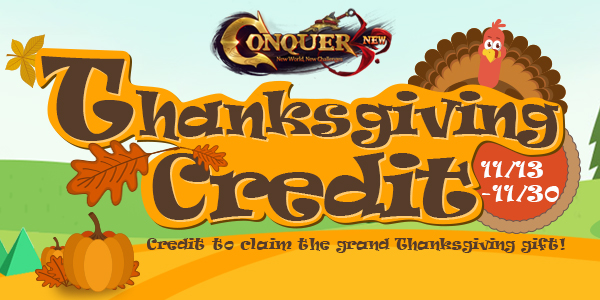Thanksgiving Credit at Conquer Online until Nov.30! game codes and game cards