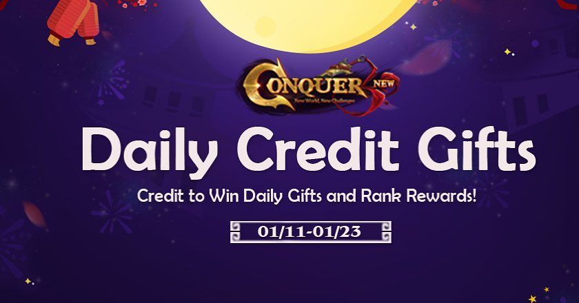 Last Days to enjoy Daily Gifts on Conquer Online game codes and game cards