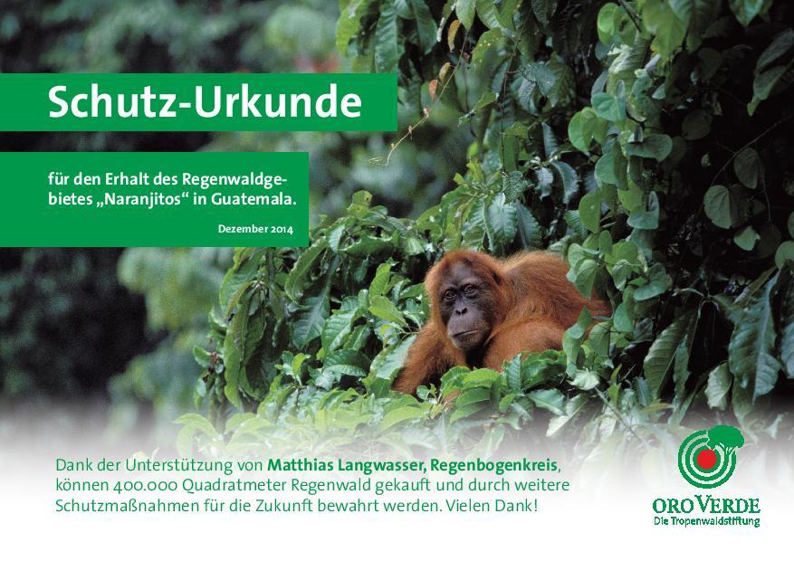 Regenwaldschutzurkunde über 400000 m²