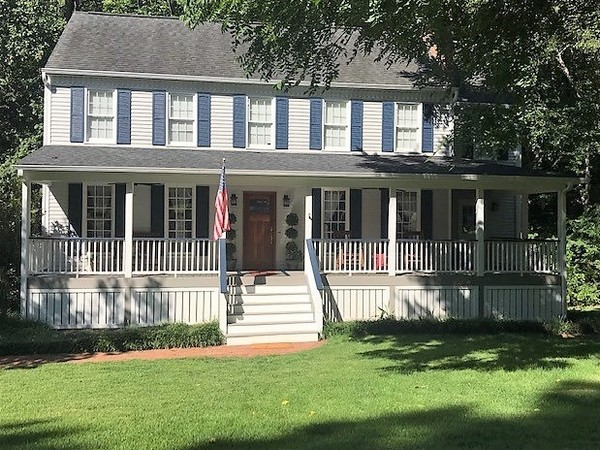 Porches, creek and 3 miles from stadium!