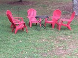Plenty of outdoor chairs for fire pit or watching games.