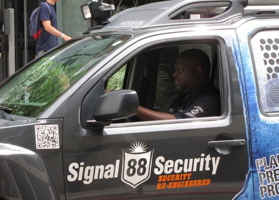 U.S. Navy veteran Derrick Dancy during a roving patrol.
