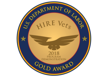 Bradley-Morris/RecruitMilitary Only Military Hiring Firm Awarded 2018 HIRE Vets Medallion