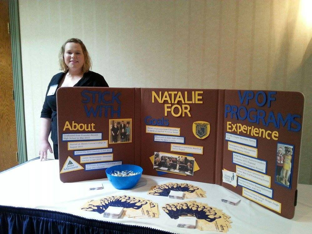 Natalie burmood at campaign booth