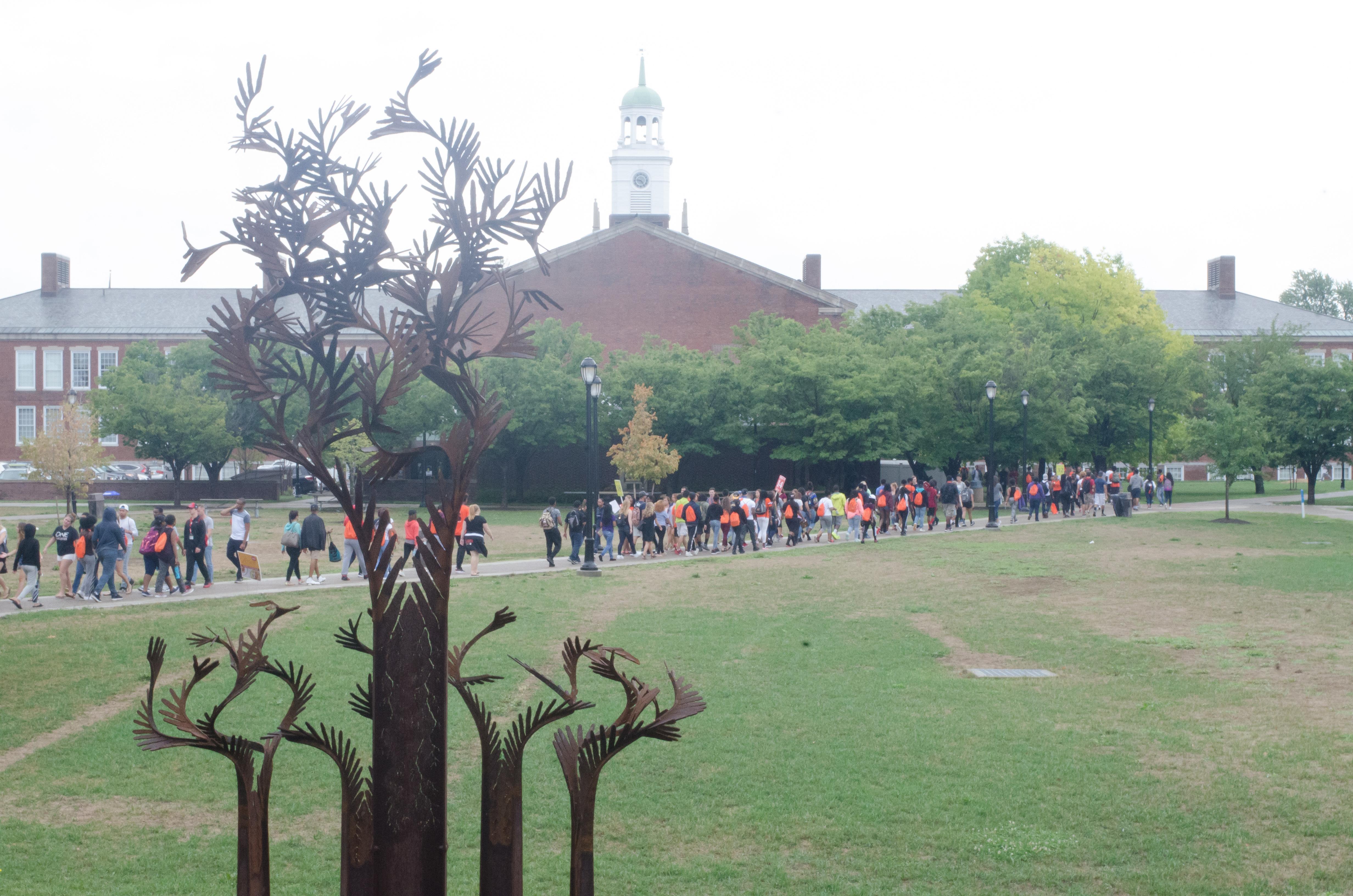 First year students cross hank mann quad.