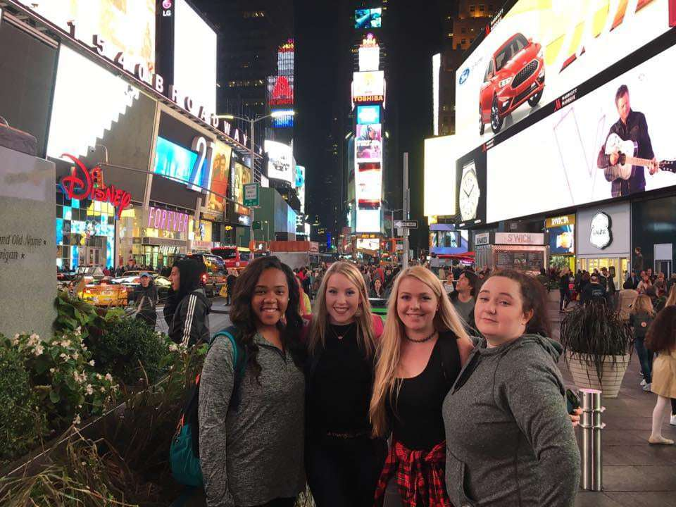Four sau theatre students visit times square
