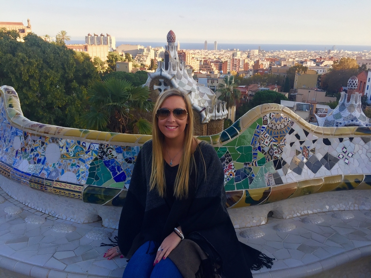 Park guell  a big tourist attraction in barcelona