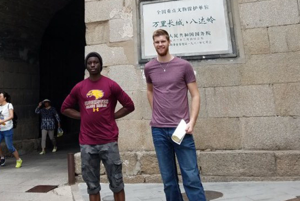 Koepp and adeniyi at the great wall