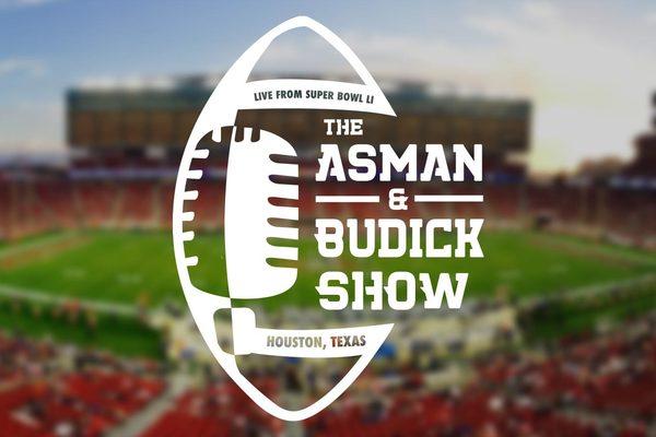 Asman budick show super bowl logo