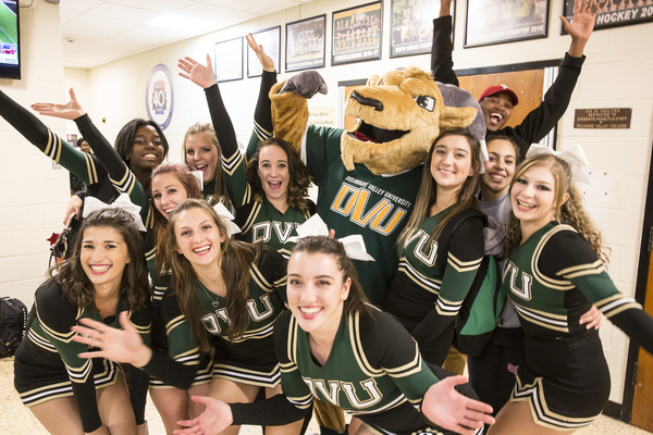Cheerleaders and the mascot