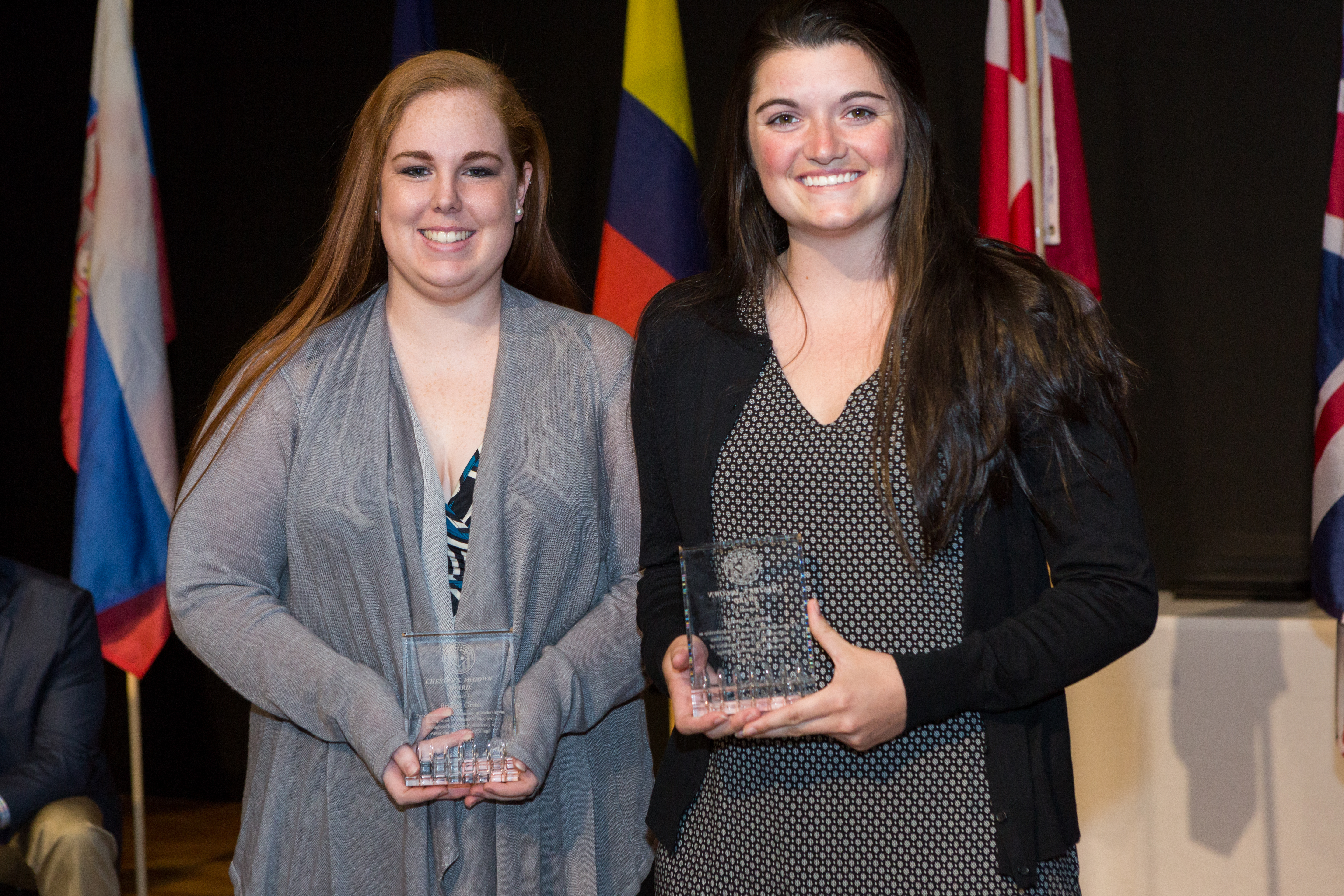 Bridget grim left and jessica lawler right co recipients of the chester s. mcgown award