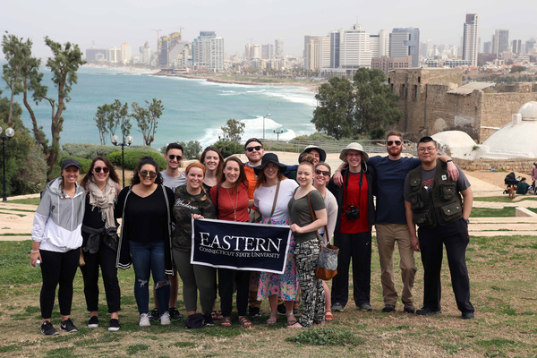 Jaffa with tel aviv israel in background