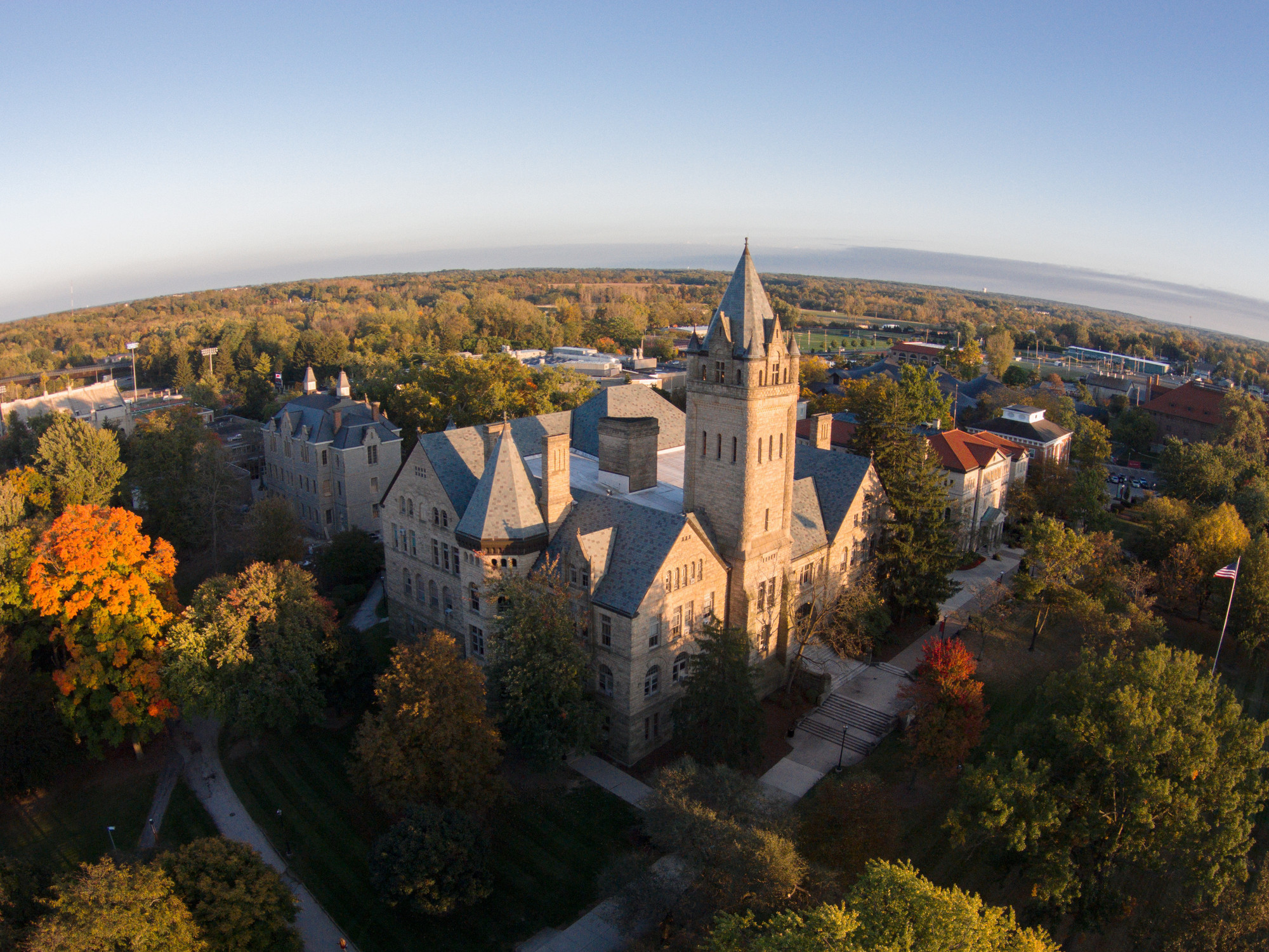 Ohio wesleyan university aerial image
