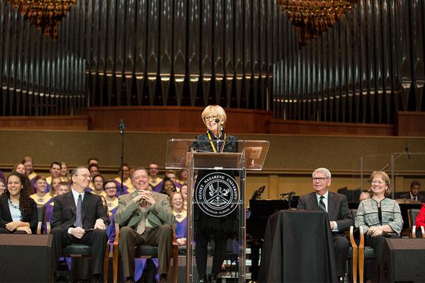 Mary lou carney speaking in chapel oct17 pr