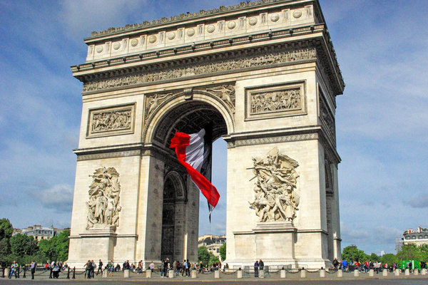 Arc de triomphe and giant french flag  french moments