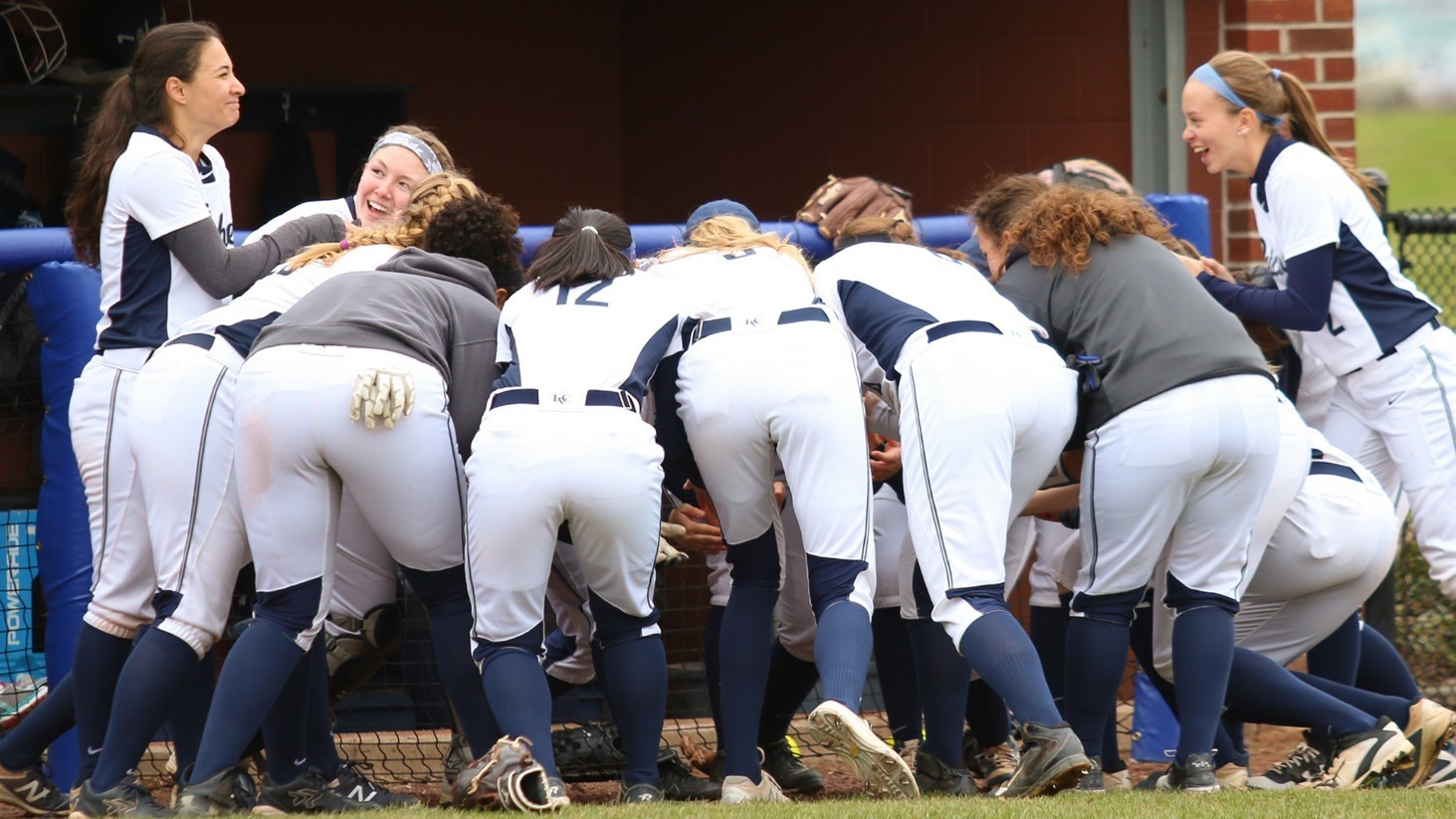 Softball pregame huddle