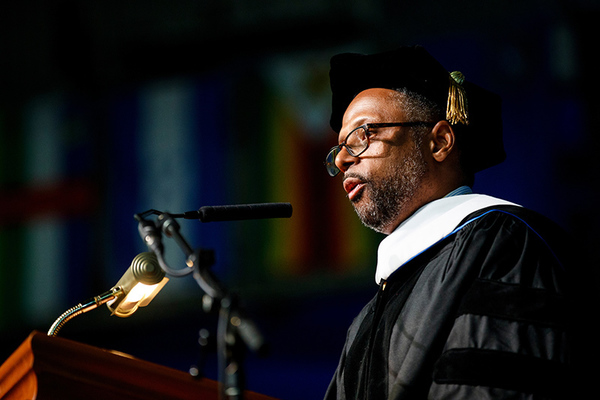 Close up of earl lewis 2018 commencement speaker at berea college