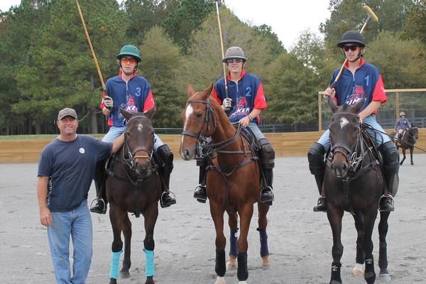 Polo team with coach