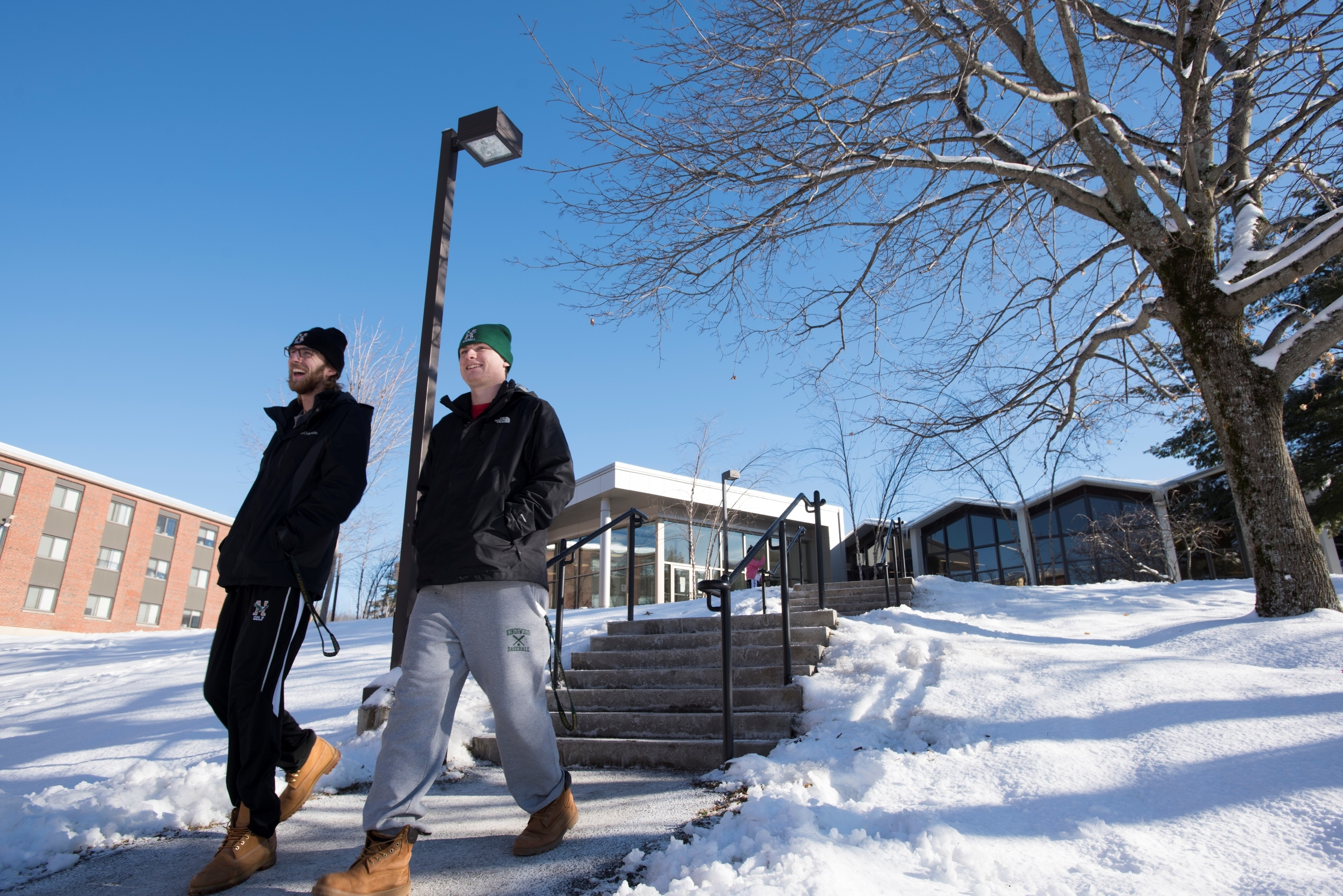 Students near ddc steps in the snow   1.2