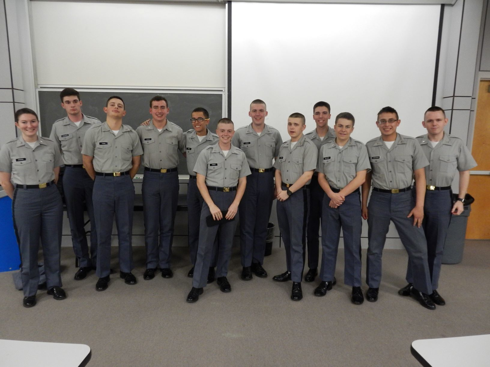 Cadets participating in math jeopardy