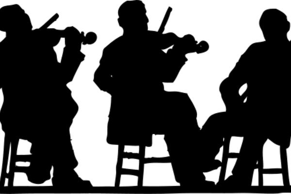 3 fiddlers in silhouette