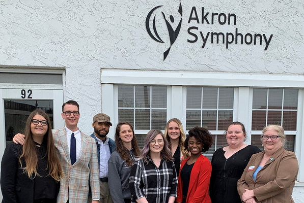 Akron symphony group outside