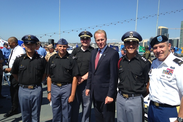 1410535884 cadets on uss midway with mayor of san diego
