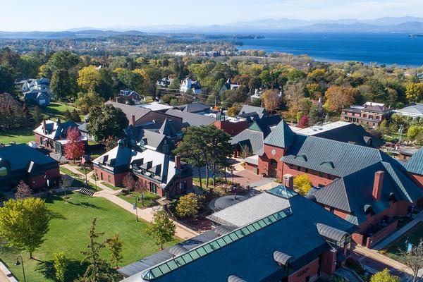 Champlain college campus aerial