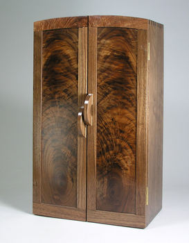 1 figured walnut and curly maple jewelry armoire closed