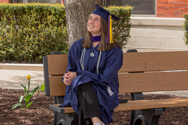 Inspired by an Allen County Sheriff's Department deputy who encouraged her during a low point in her life, Allie Curdes will graduate from Trine University on Saturday, May 8, with bachelor's and master's degrees in criminal justice. (Photo by Kacie Galloway / Trine University)