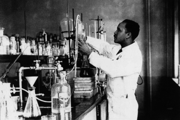 Percy julian in his lab