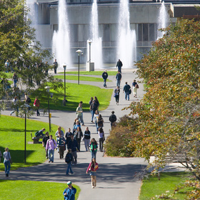 Campus quad and dillingham fountains