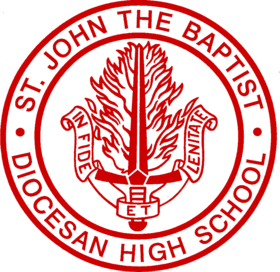 School logo red white back
