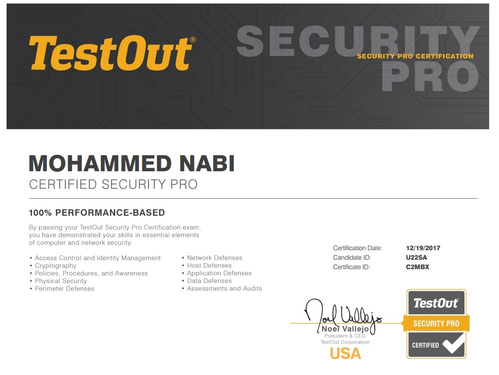 My tesout certification